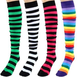 STRIPED FESTIVAL SOCKS UK 4 - 7 Welly Boot Liner Striped Bright Walking Stocking