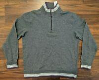 New Robert Graham Mens Sweater 1/4 Zip Pullover Reversible Gray Size Large