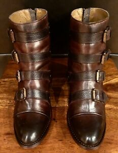 RARE EXCELLENT FREEBIRD BY STEVEN SLOAN COGNAC BROWN BLACK LEATHER ANKLE BOOTS 9
