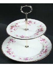 PARAGON VICTORIANA ROSE TWO TIERED SERVING TRAYS / PLATES