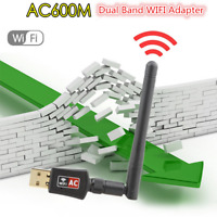 600 Mbps Dual Band Wireless USB WiFi Internet W/Antenna Adapter Dongle 802.11AC