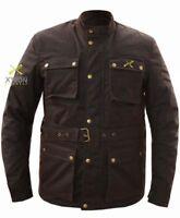 XTRON Vintage Wax Cotton Waterproof Motorcycle Motorbike Jacket CE armour Biker