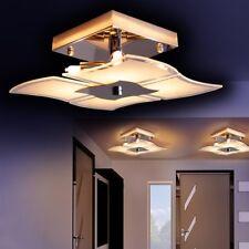 Lámpara de techo metal color cromo pantalla cristal blanco cocina salón pasillo