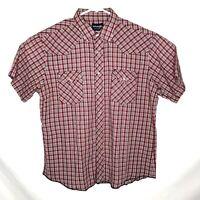 Vintage WRANGLER Red White Plaid Pearl Snap Western Shirt Men Medium (I11)