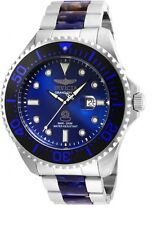 New Mens Invicta 24288 Grand Diver Big t54mm wo Tone Blue Dial Black Bezel Watch