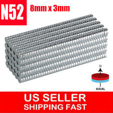 lot 5-100 8mm x 3mm Neodymium Disc Strong Rare Earth N52 Small Fridge Magnet US
