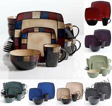 Dinnerware Set Square Dinner Plates Mugs Dishes Bowls Home Kitchen 16 Pcs Lounge
