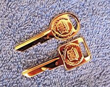 NOS NEW OEM GM UNCUT 1968-90 Cadillac C & D Key Blank Set GOLD Ornament Emblem