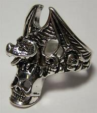 Deluxe Flying Bat Holding Skull Heads Biker Ring #Br59 Men Womens jewelry Silver