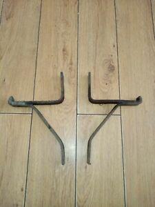 GENUINE PAIR  cast iron vintage  wall mounted shelf industrial brackets