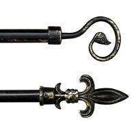 Bastone tenda antichizzato nero estendibile 120-210cm asta ferro battuto anelli