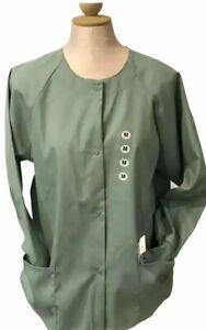 Fundamentals Light Green Women's Snap Front Warm Up Solid Scrub Jacket M B73
