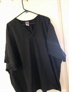 Cherokee Men's black 4 XL scrub top front pocket v neck