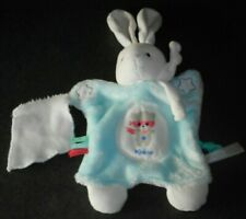 Doudou Lapin Marionnette Bleu Aqua Mouchoir Blanc Etoile Phosphorescente Kaloo