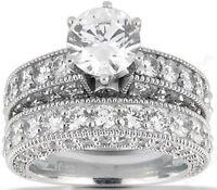 4.66 ct Engagement Round Diamond Ring Band 18k Gold semi mount Bridal Set, G SI1