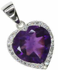 Amethyst Heart Gemstone Sparkling Micro Setting Sterling Silver Pendant + Chain