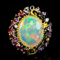 Top Special 20ct AAAA+GEM Natural Opal 925 Sterling Silver Ring Size 8.5/R86375