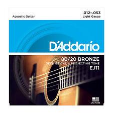 D'ADDARIO EJ11 LIGHT 80/20 BRONZE 12-53 ACOUSTIC GUITAR STRINGS  2 PACK