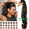 CLEARANCE Clip In Remy Ponytail Hairpiece 100% Human Hair Extensions Wrap Around