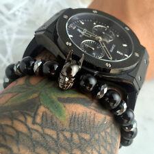 Charm Mens CZ Crown Titanium Steel Skull Bracelet 8mm Natural Onyx Male Beads