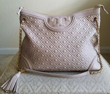 AUTHENTIC TORY BURCH FLEMING TOTE QUILTED LEATHER BEDROCK  HANDBAG BAG