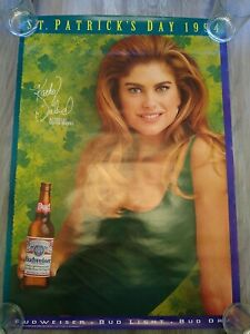Vintage 1994 Kathy Ireland St Patrick's Day Bud Light Budweiser Beer Poster Sexy