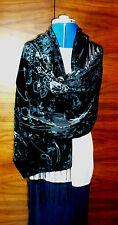 Velvet devore scarf/shawl  Silver grey rose pattern on black   NEW