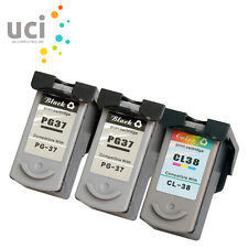 3 Ink Cartridge for Canon PG37 CL38 Pixma iP1800 iP1900 iP2500 iP2600 MP140