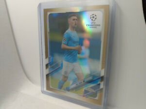 2020-21 Topps Chrome UEFA #34 Phil Foden Gold Refractor SP /50 Football Card