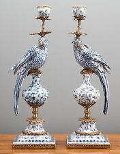 Set of Two Oriental Bronze Ormolu Parrot  Birds Porcelain Candle Holders,19''H.