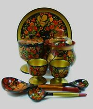 Vintage Russian Khokhloma Lacquered Hand Painted Wooden Ware Collection Folk