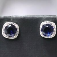 Elegant 2 Ct Blue Round Sapphire Diamond Halo Stud Earrings 14K White Gold Plate