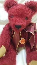 "Hermann LEVEN Vinzenz teddy bear Burgandy Mohair LE Germany COA tags Growler 13"""