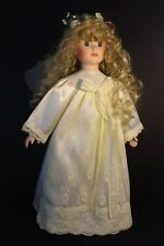 Porcelain Girl Doll  - Angel / Fairy - Wings - White Satin Gown - Blonde Curly