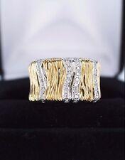 $1,950 14K Yellow Gold Round Pave Single Cut Diamond Elephant Wave Band Ring 6.5