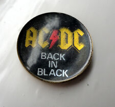 Vintage ACDC Prismatic crystal pin badge Heavy Rock 1980s AC/DC BACK IN BLACK