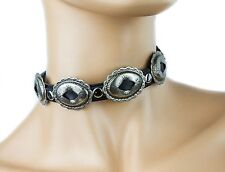 Oval Concho Gothic Choker Punk Collar Metal Genuine Leather Buckle Necklace