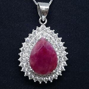 World Class 11.70ctw Mozambique Ruby & Diamond Cut White Sapphire 925 Pendant
