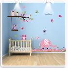 Owl Wall Stickers Elephant Animal Jungle Pink Nursery Baby Bedroom Decal Art