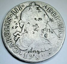 1781 Chopmarks Spanish Silver 8 Reales Antique Colonial Dollar Counterstamp Coin
