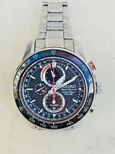 Seiko Sportura Pepetual Solar V1980AA0 BLK Alarm Chronograph ALL SS Men's Watch