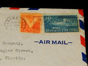 Vintage Cover,1945, 1CUBA,Air Mail,American Embassy, Military Censor,To Miami,FL