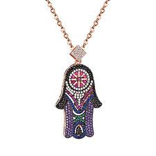 Ladies Womens Hamsa Hand Pendant Designer Lab Diamonds Sterling Silver 925 Chain