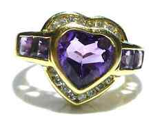 THICK QUALITY GENUINE DIAMONDS & AMETHYST 14K YELLOW GOLD HEART PATTERN RING
