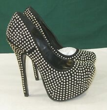 "new Black Gold Stud 6""High Heel L.2""Hidden Platform Sexy Shoes WOMEN Size 5.5"