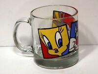 Vintage 1994 Looney Tunes Warner Bros.Glass Mug w/Bugs Bunny, Tweety & Sylvester