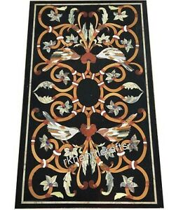 24 x 48 Inches Black Marble Dinning Table Top Meeting Table with Marquetry Art