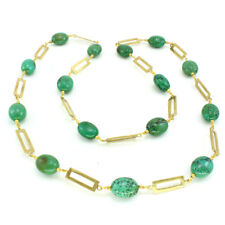 Necklace natural Tibetan green turquoise gemstone oval beaded handmade chain