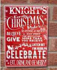 SHABBY Chic Vintage Natale in famiglia regole personalizzata in LEGNO PLACCA Cartello Xmas