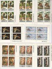 Liberia Lot of Mint NH Blocks, #489-496, Art Topical Stamps